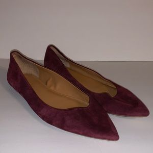 J. Crew Suede Pointy Toe Ballet Flats